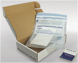 Absorbent Sheets, Flexible Secondary 95kPa Pouches, Rigid Outer Containers and Security Labels