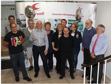 Andy and Lawrence Whittard celebrating 45 year anniversary with some of the Cherwell team
