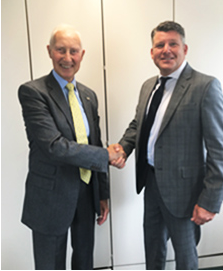David Giles, Chairman of Alpha Laboratories Ltd. (Left) confirms the distributor agreement with Richard Senior – MD, MedDX Solutions Ltd