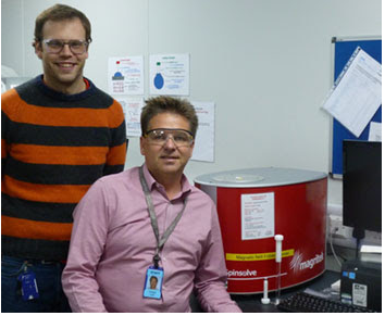Dr Iain Hitchcock and Dr Andrew York with their Magritek Spinsolve benchtop NMR