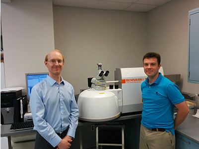 Drs Kyle Reisner and Brady King from Wayne State University with their Renishaw inVia confocal Raman microscope