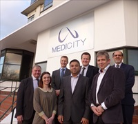MediCity tenants with David Browning Director of MediCity and Mark Chivers Boots UK med