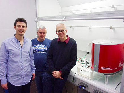 Professor Patrick Giraudeau (right) with his PhD student, now Dr Boris Gouilleux (left) and engineer Benoît Charrier with their Magritek Spinsolve benchtop NMR spectrometer