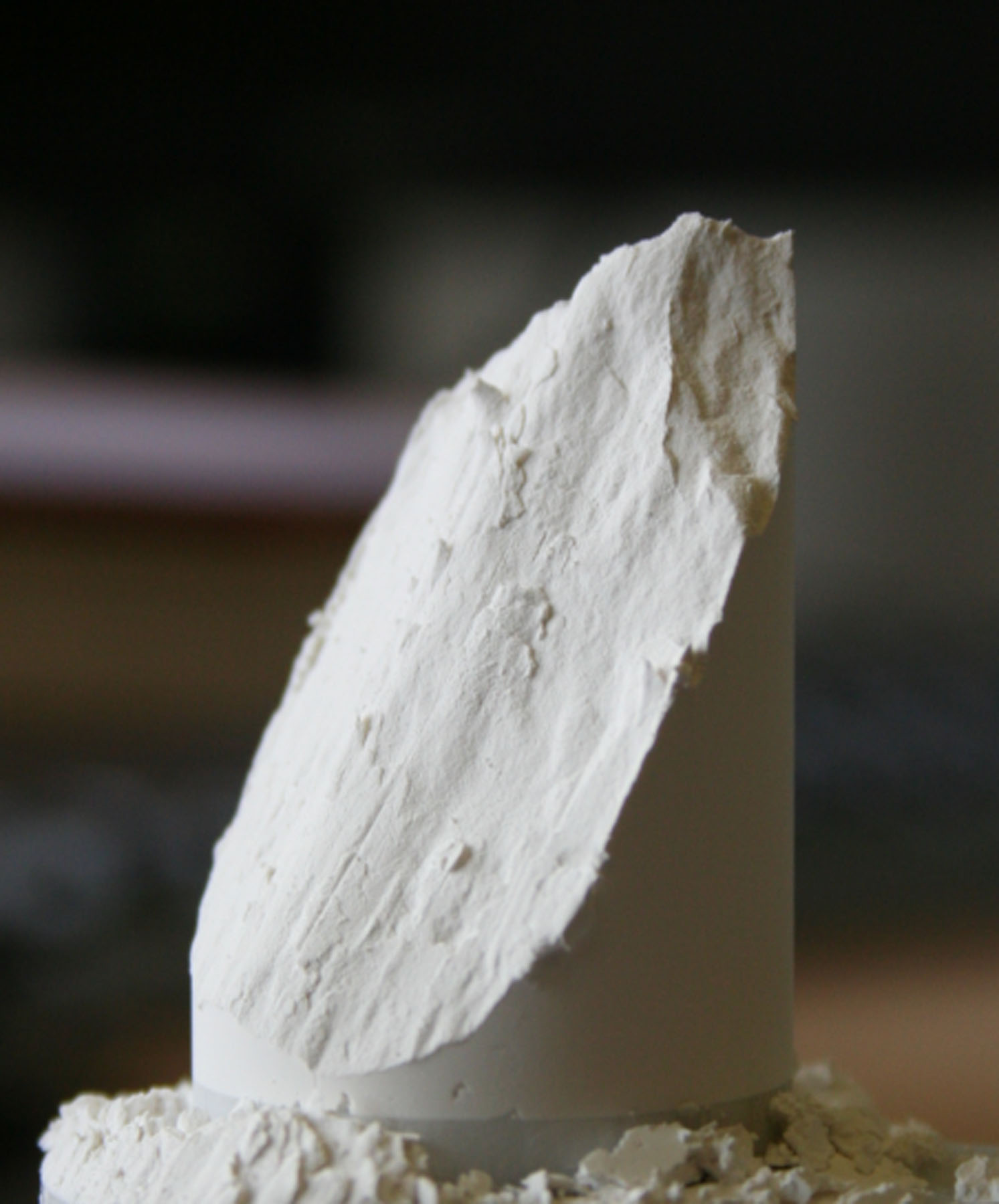 Powder after it has been failed in a uniaxial test