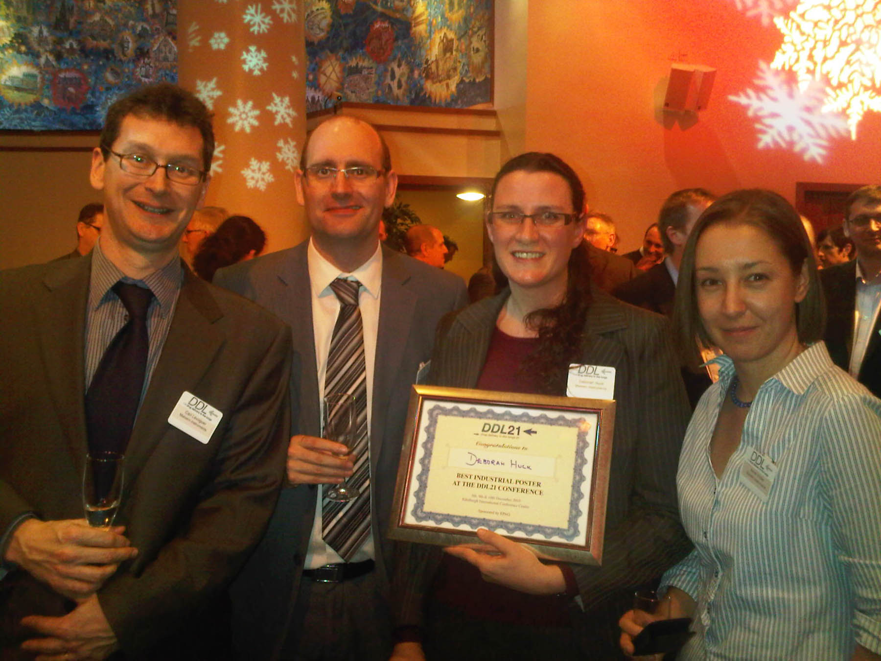 Malvern team receives DDL Industry Poster Award (from left: Carl Levoguer, Andrew France, Deborah Huck, Anne Virden).