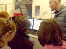 Primary school pupils gain an insight into particle size and shape, at the Whitehouse Scientific laboratories.